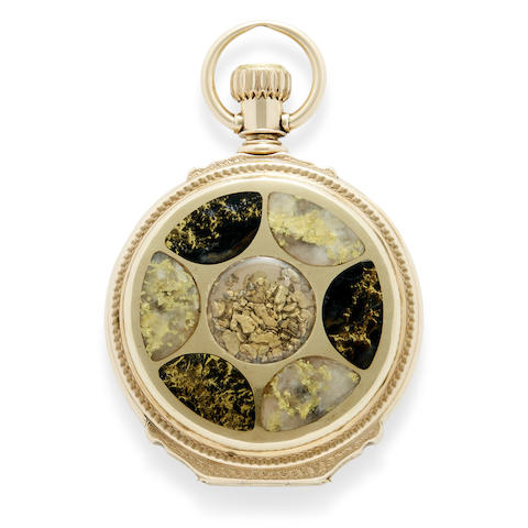 A remarkable 14K gold box hinge hunter cased watch set with native gold and gold quartz