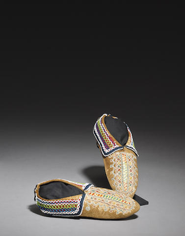 A pair of Seneca quilled and beaded moccasins