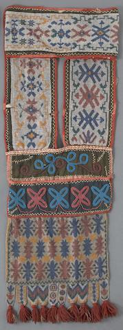 An Ojibwa beaded bandolier bag