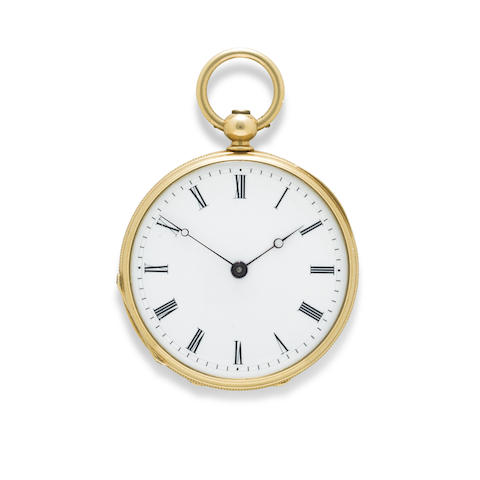 A fine 18K gold open face fob watch and key