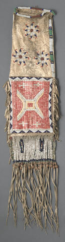 A Sioux beaded and quilled tobacco bag