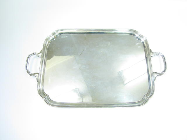 A twin handled silver tray