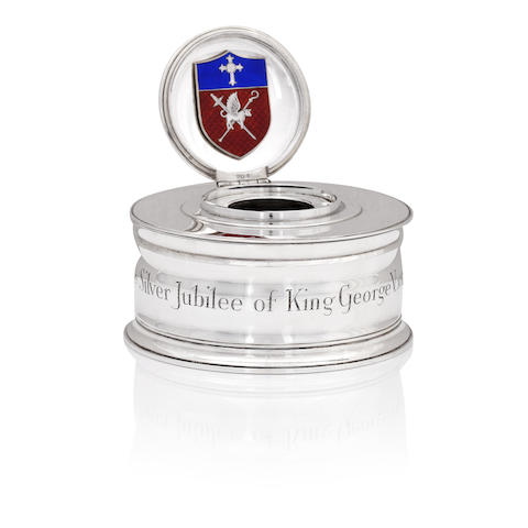 King George V Silver Jubilee; A silver inkwell