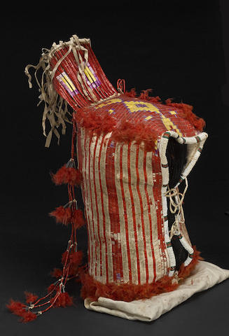 A Sioux quilled cradle