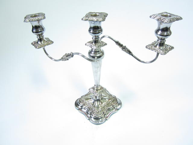 A silver candleabrum