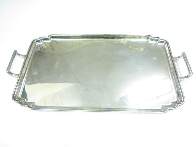 A silver twin handled tray