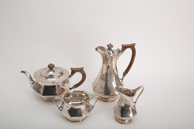 A four piece silver tea service