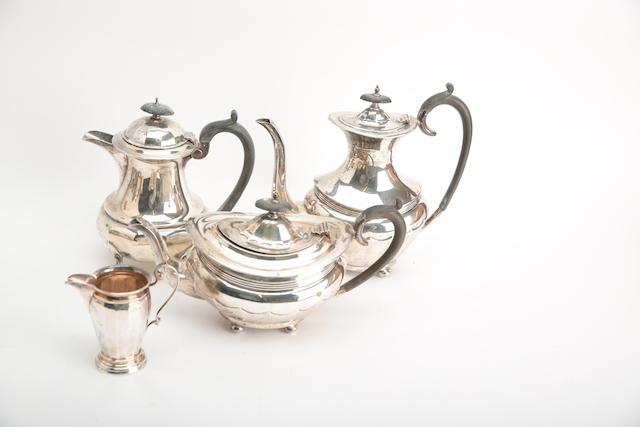 A four piece composite silver tea service