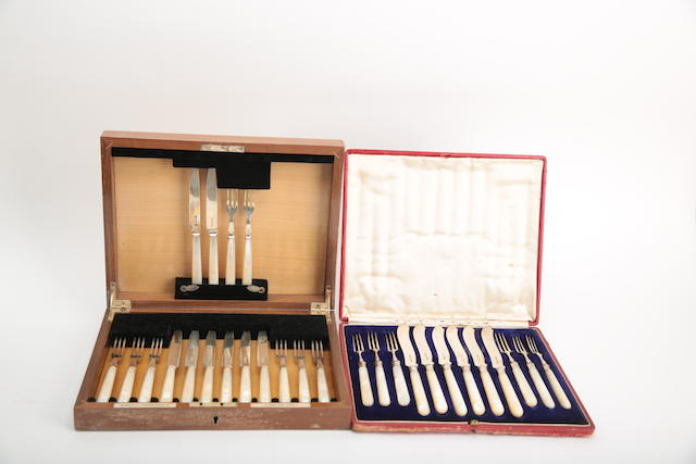 Two cased sets of silver mounted-mother-of pearl flatware