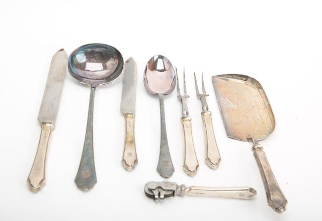 Eight items of silver serving cutlery
