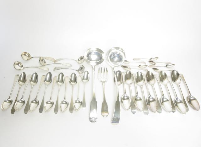 A collection of late 18th/ early 19th century George III Scottish silver flatware