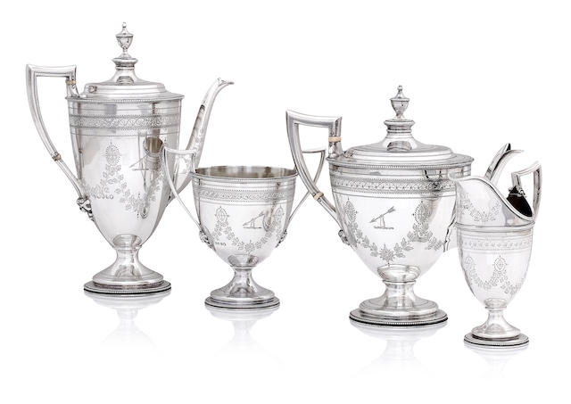A Victorian four piece silver tea service
