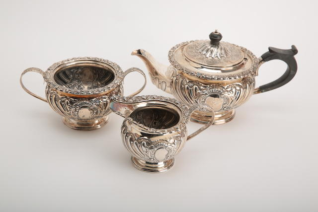 A late Victorian silver three piece tea service