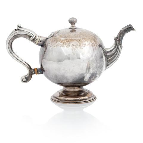 A George II silver bullet teapot