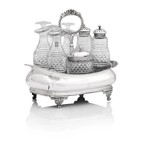 A George III silver cruet stand