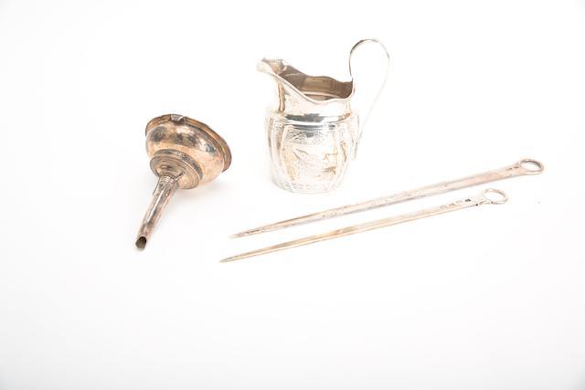 A George III silver meat skewer