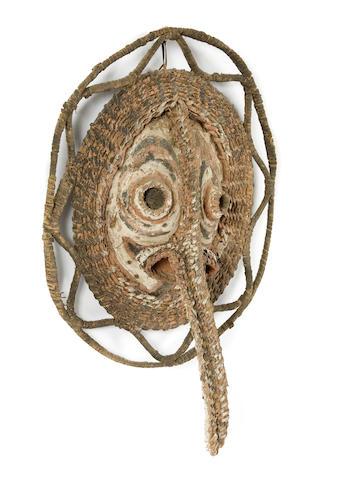 Sepik River Basketry Mask and Figural Skull Rack, New Guinea
