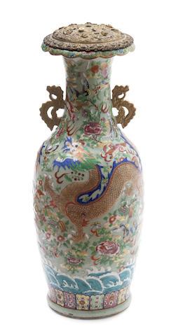 A Chinese celadon polychrome porcelain lamp