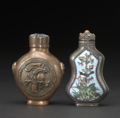 Two metal snuff bottles
