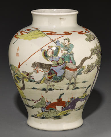 A white ground vase with famille rose figural decoration