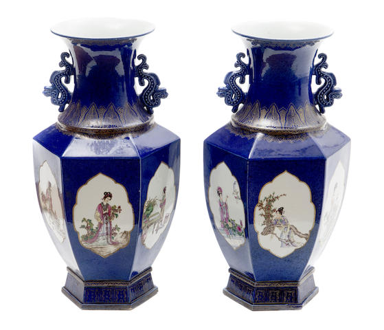 A pair of Chinese cobalt blue hexagonal vases