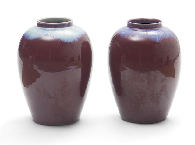 A pair of Chinese oxblood vases