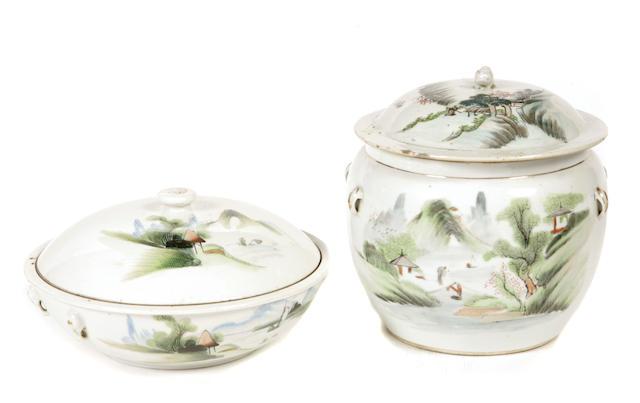 Two Chinese polychrome enameled porcelain vases