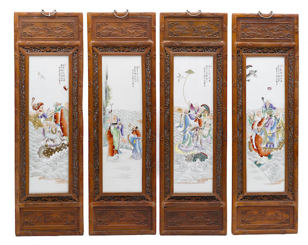 A set of four Chinese porcelain framed wall plaques