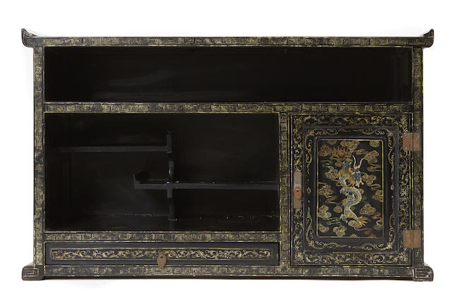 A Chinese gilt decorated lacquered chest