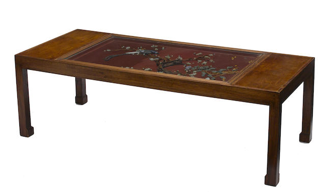A Chinese hardstone decorated low table