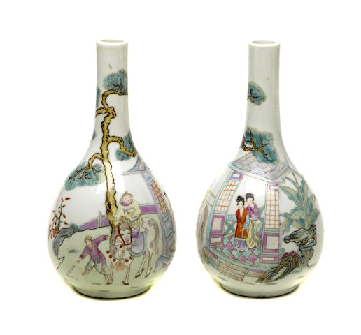 A pair of famille rose pear-shaped vases