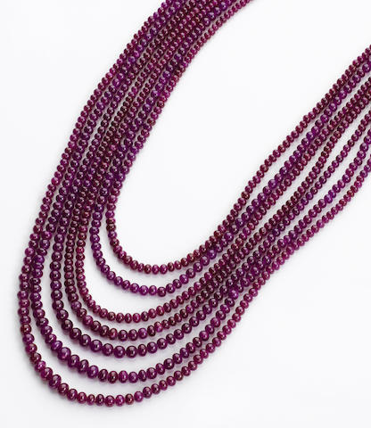 Multi Strand Ruby Necklace
