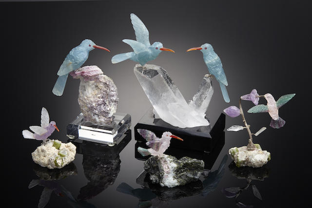 A group of carved gemstone Hummingbirds