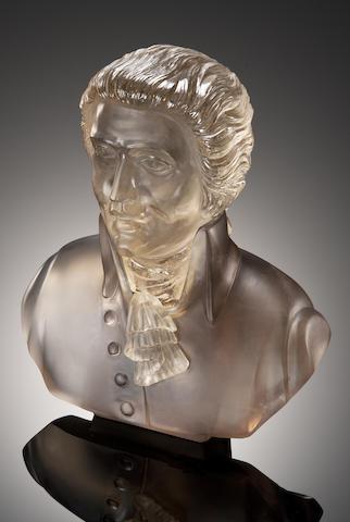 Smoky Quartz Carving of a Bust of Mozart