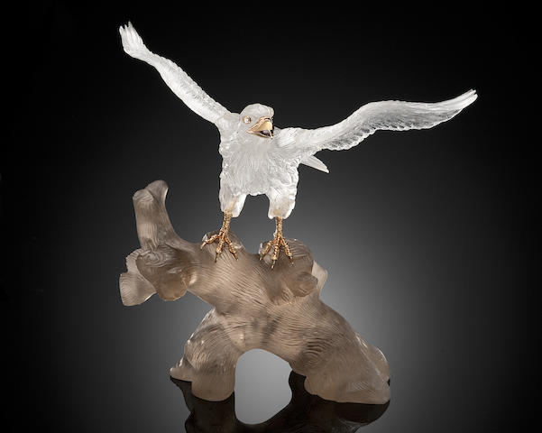 Rock Crystal Quartz Carving of an Eagle