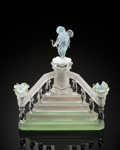 Carved Aquamarine Cupid on Rock Crystal Steps