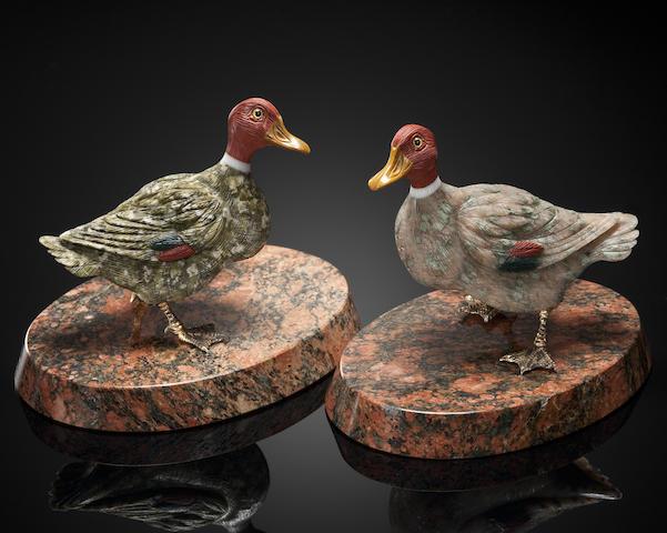 Pair of Carved Gemstone Ducks