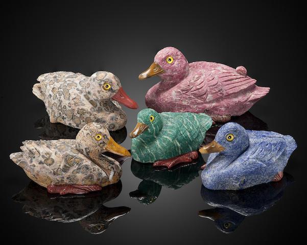 Group of Five Gemstone Carvings of Ducks