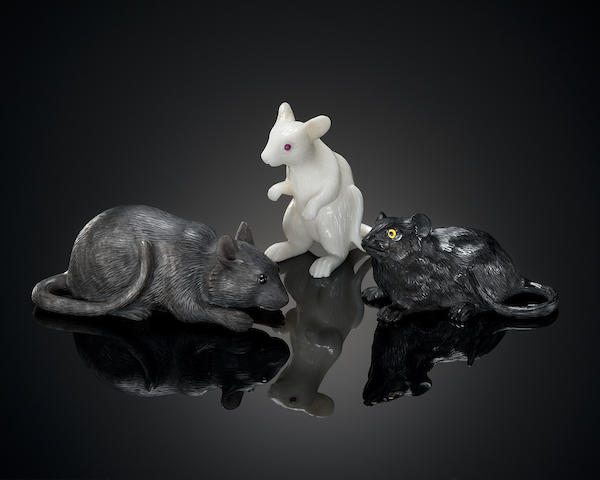 Group of Three Agate Carvings of Mice