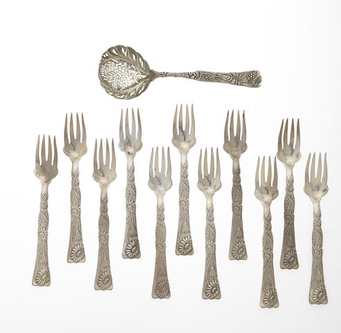 A American sterling silver part flatware service