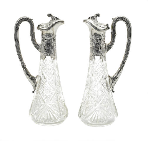A pair of Russian 84 standard silver-mounted cut-glass claret jugs