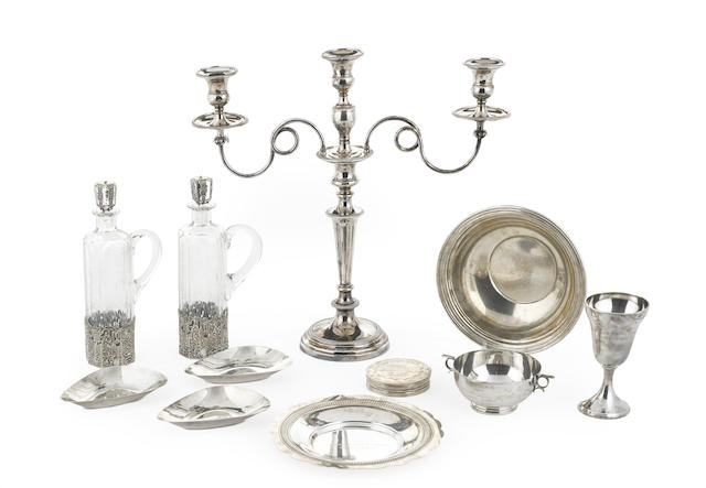 A large group of American and English sterling silver and silver-plated various table articles
