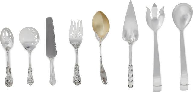 Six American sterling silver various serving utensils