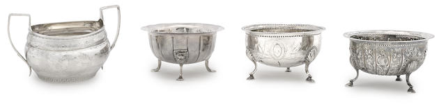 Four Irish George III sterling silver various sugar bowls