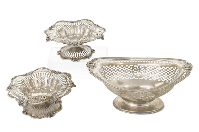 An assembled group of three American sterling silver reticulated tablewares