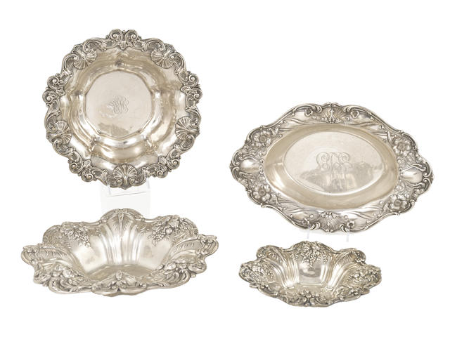 An assembled group of four American sterling silver bowls