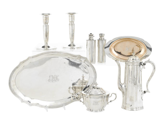 An assembled group of American sterling silver hollowware and accessories