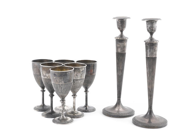 A set American sterling silver goblets and matching candlesticks