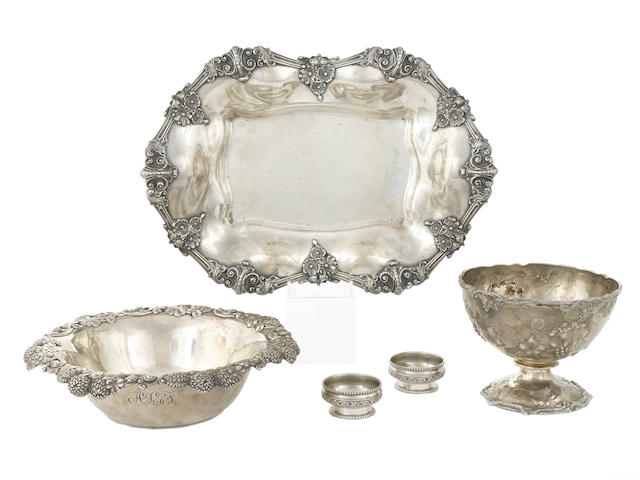 An assembled five piece group of American sterling silver hollowware