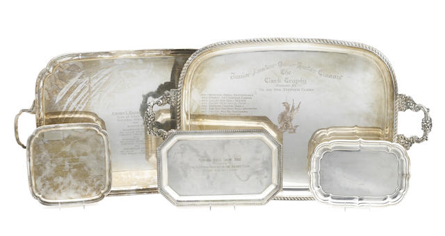 Three English silver-plated various trays engraved with trophy inscriptions